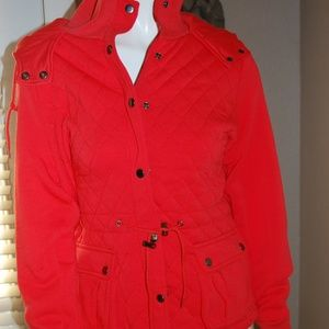NWT Womens Laura Scott Red Quilted Car Coat Jacket